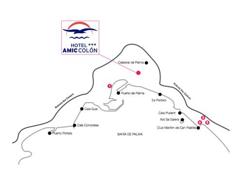 Localización Hotel Amic Colon